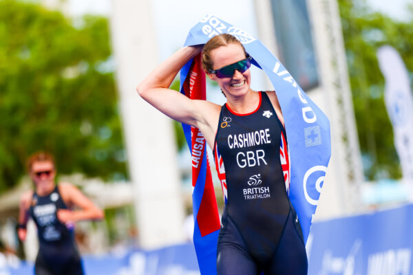 Claire Cashmore British, swimmer and triathlon medallist paralympian, running a race.