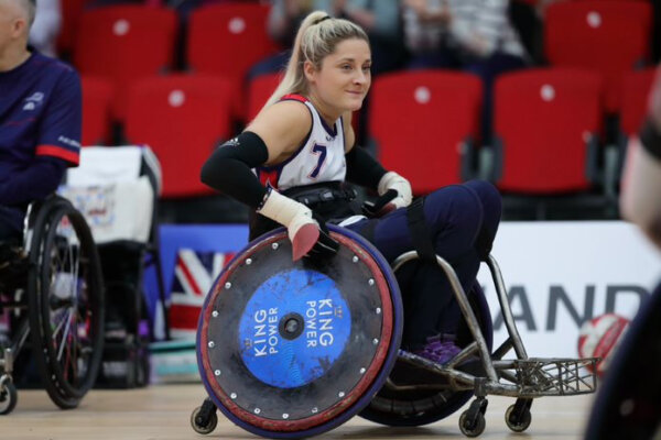 Kylie Grimes, British wheelchair rugby player, competing by ©Great Britain Wheelchair Rugby