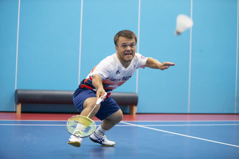 Jack Shephard, paralympian, playing badminton by ©Imagecomms