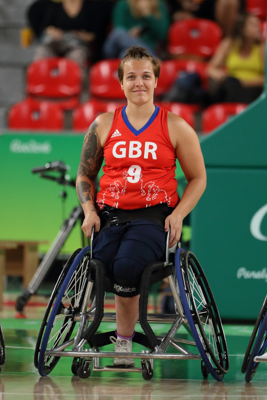 Jude Hamer British wheelchair basketball player competing.