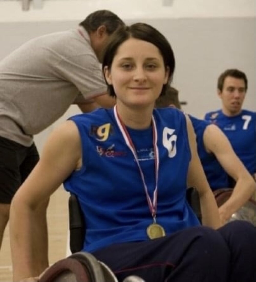 Portrair of Kylie Grimes, British wheelchair rugby player, by ©Great Britain Wheelchair Rugby