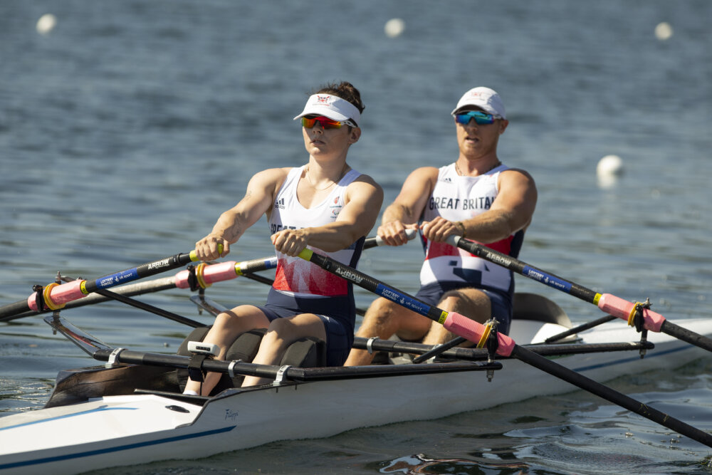Lauren Rowles and rowing partner Laurence Whiteley competing by ©Imagecomms
