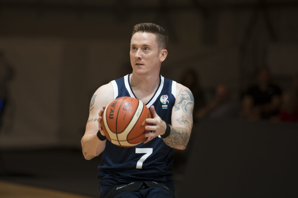 Terry Bywater, Paralympian British basketball player, playing wheelchair basketball by ©British Wheelchair Basketball