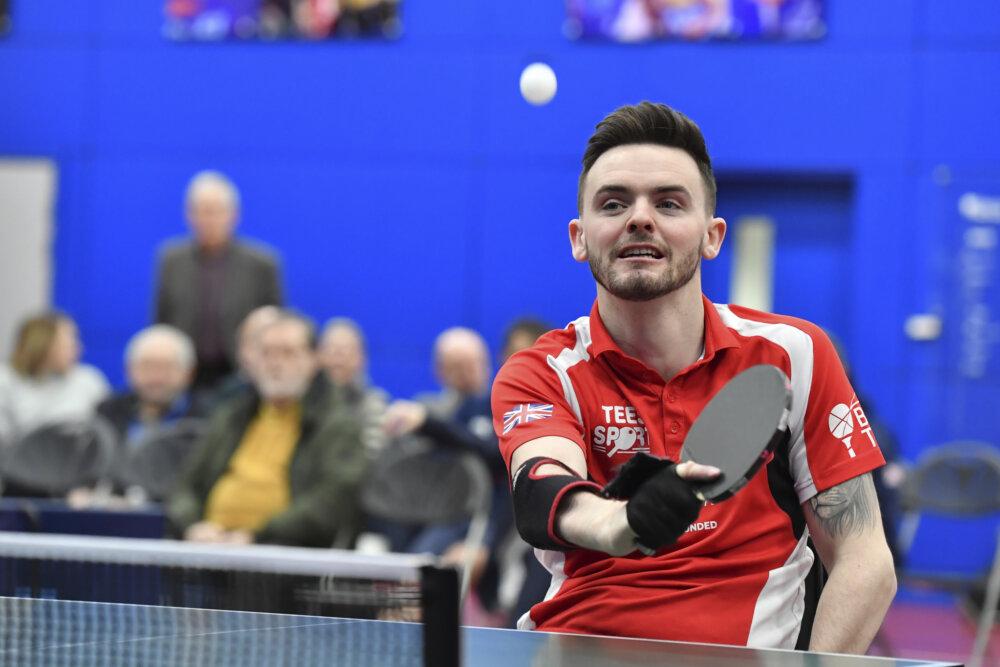 Tom Matthews, table tennis player, competing.