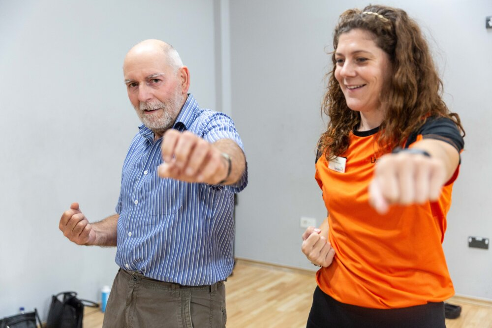 Steven York and Happy and Healthy instructor Helen Wharton at the Great Sankey Neighbourhood Hub